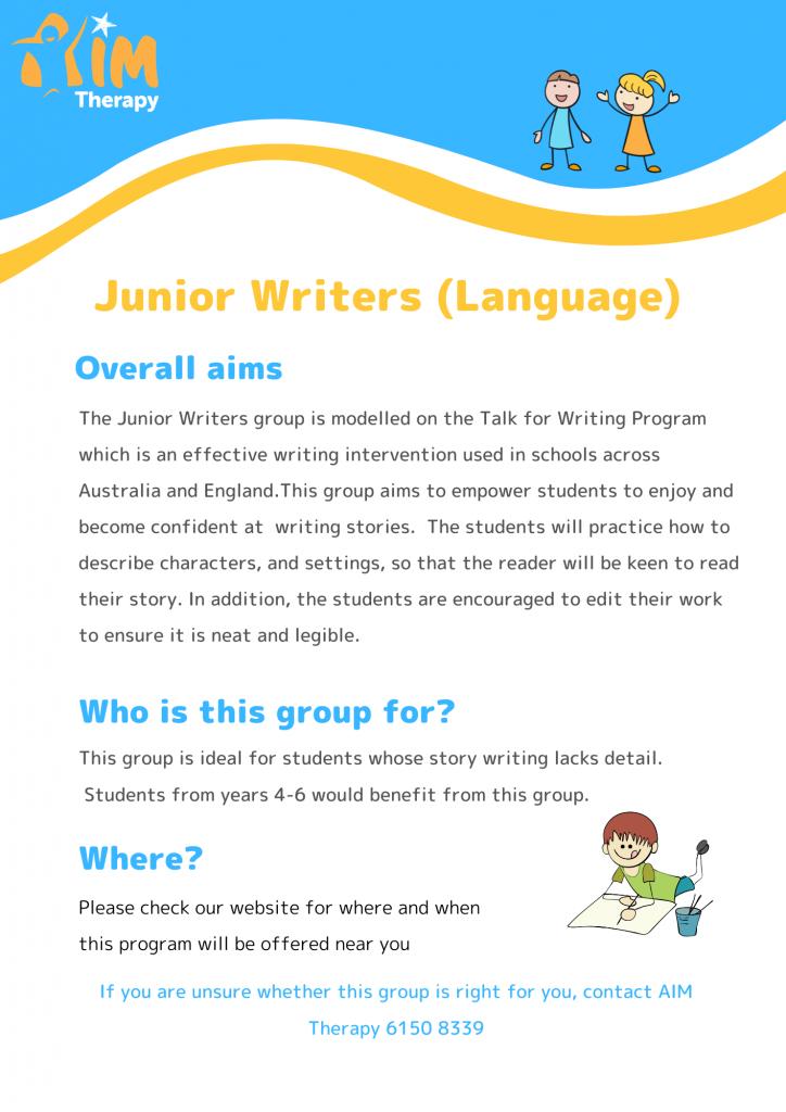 Junior Writers Language Years updated