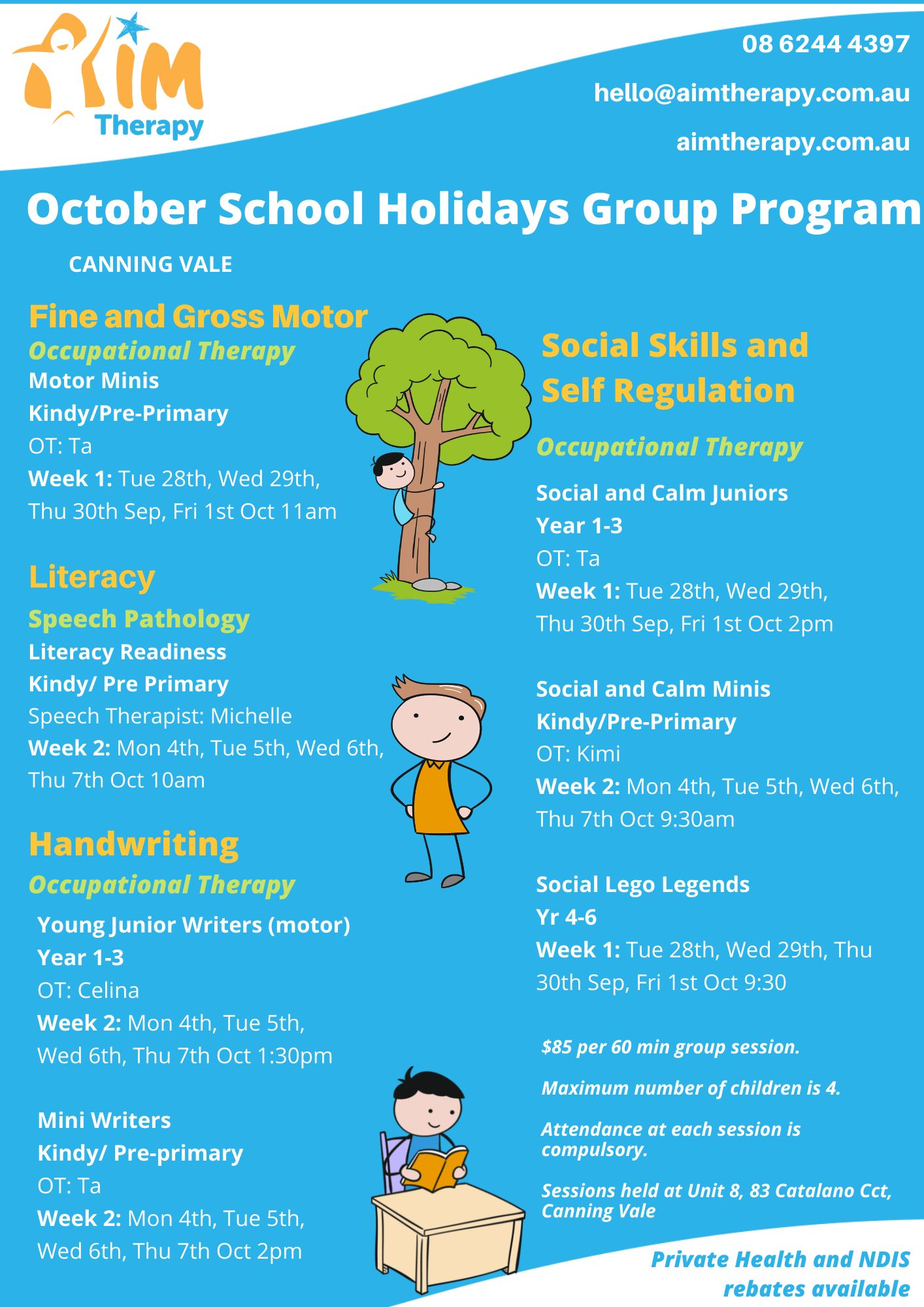 Canning Vale updated October Holiday Groups